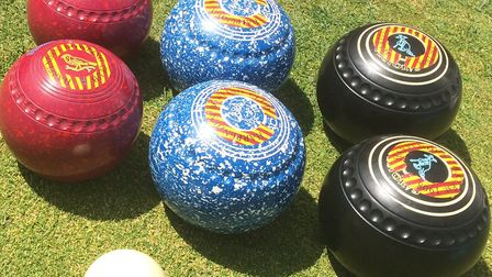 Bowls on the green at Harpenden Bowling Club.