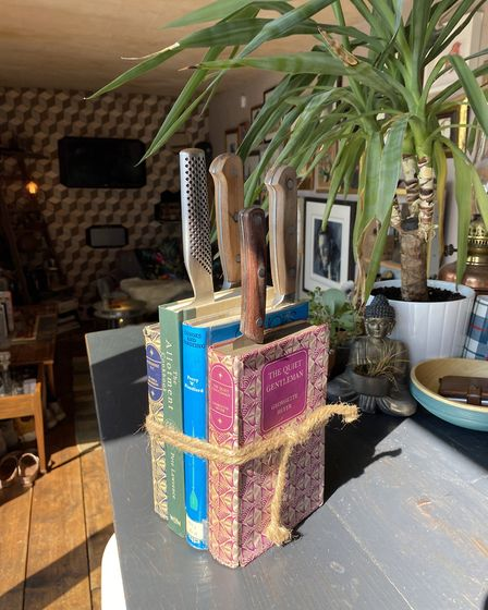 Upcycled books can make a perfect knife block. Picture: PA Photo/Max McMurdo