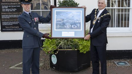 Wreaths layed by Mayor of Huntingdon Councillor Steve McAdam and Officer Commanding RAF Wyton, Wg Cd