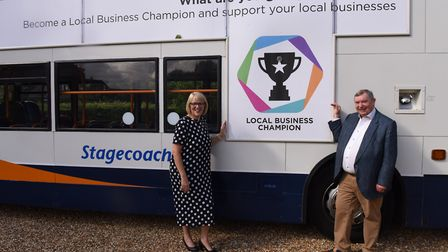 Michelle Hargreaves, Managing Director for Stagecoach East, with John Bridge OBE DL, Chief Executive