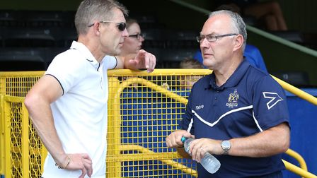 Dean Austin chats with Ian Allinson prior to a pre-season friendly in 2018 between St Albans City an