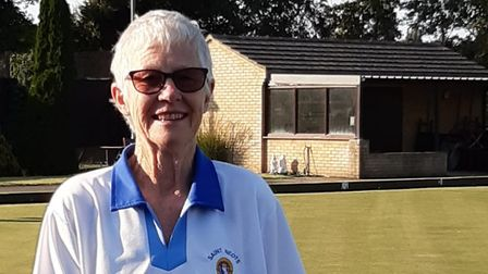 Barbara Garwood with her trophies from the finals day at St Neots Bowls Club.