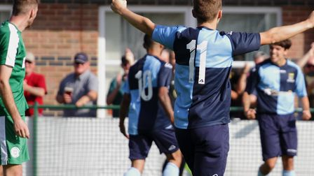 St Neots Town celebrate Leon Lobjoit's goal in the 1-1 draw with Bedworth United. Picture: DAVID RIC