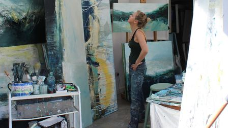 Harpenden-based artist Justine Lois Thorpe in her studio. Picture: supplied