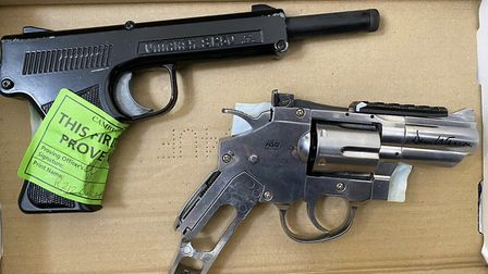 A 17-year-old boy was arrested on suspicion of having class B drugs – and two air pistols were confi