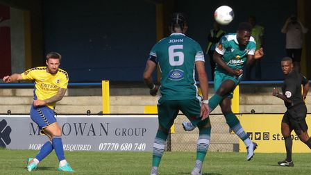 David Noble in action for St Albans City in their pre-season friendly against Sutton United. Picture