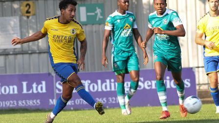 Zane Banton in action for St Albans City in their pre-season friendly against Sutton United. Picture