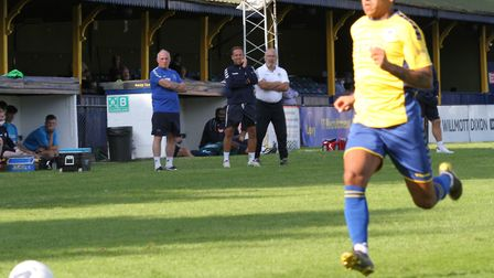 Steve Conroy, Chris Winton and Ian Allinson look on as St Albans City take on Sutton United in a pre
