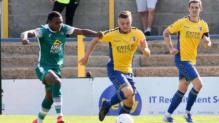 Luke Warner-Eley in action for St Albans City in their pre-season friendly against Sutton United. Pi