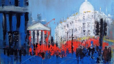Carol Mountford's painting 'London City' for the Royston Arts Society's autumn exhibition. Picture: