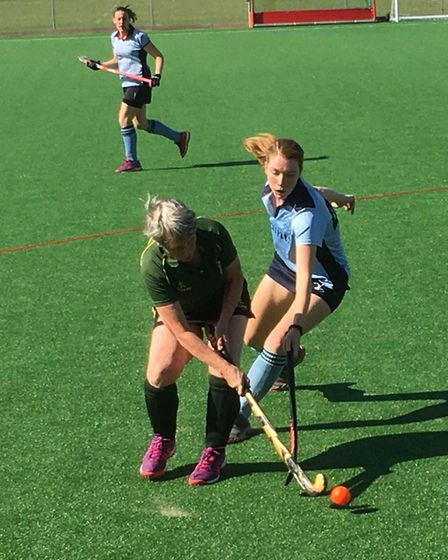 Chloe Pinn breaks up an Ely City attack for St Neots Hockey Club's second team. Picture: TIM BETTSWO