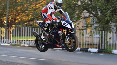 Graham English riding over Ballaugh Bridge in the Isle of Man on his BMW S1000RR. Picture: Shayne Gr