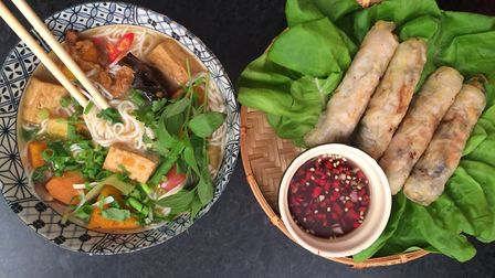 Noodle soup and spring rolls.