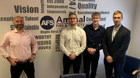 Jamie Allam of Amthal Fire and Security with brothers Sam, William and Reece Chapman.