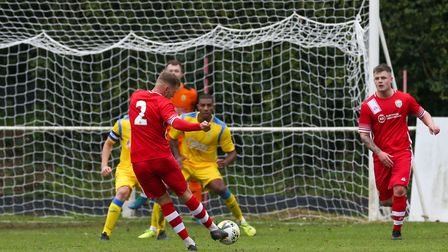 GOAL!!! Andrew Simmons of London Colney scores their second goal in the match between Harpenden Town
