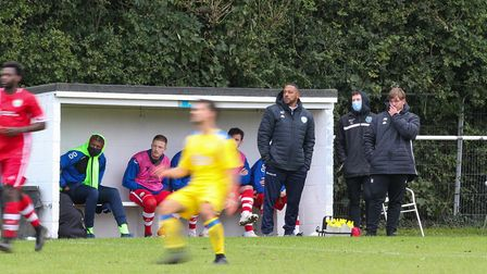London Colney manager Ken Charlery and assistant Jack Metcalfe on the touchline in the match between