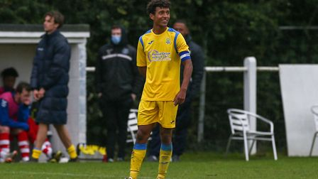 Toby Syme, captain of Harpenden Town in the match between Harpenden Town and London Colney. Picture: