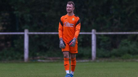 Alex Desmond of Harpenden Town in the match between Harpenden Town and London Colney. Picture: DANNY