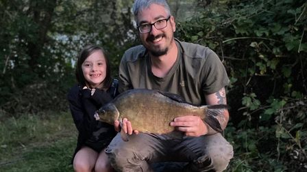 Adam and Lana Barlett with a 6lb bream at St Ives Lakes.