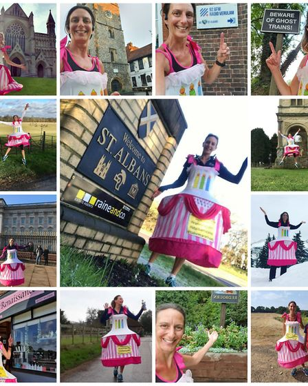 Anna Bassil is wearing a cake costume to take part in a virtual London Marathon.
