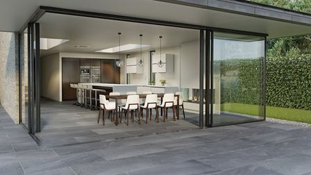 Inside and out: Valverdi Portico indoor-outdoor slate-effect tiles make a seamless link with nature,