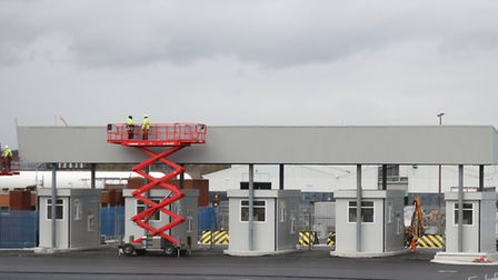 New customs posts under construction at Dublin Port in preparation for a no-deal Brexit. Picture: Ni