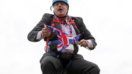 A publicity stunt by Boris Johnson gets stuck. Picture: Barcroft Media/Getty Images