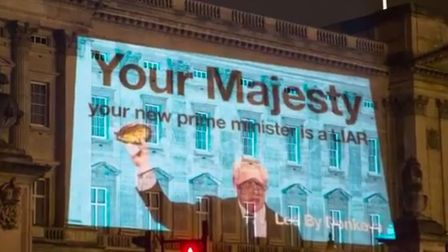 Led By Donkeys have struck again with a projected message for the Queen about Boris Johnson. Picture