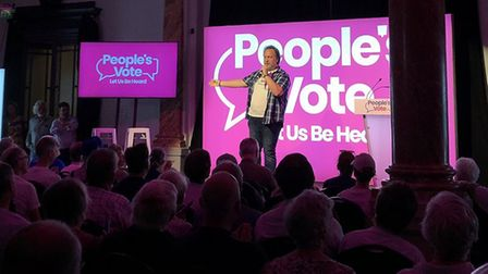 Mitch Benn at the People's Vote rally in Cheltenham. Photograph: People's Vote.