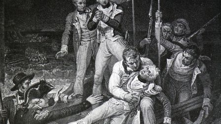 Nelson wounded at Tenerife, 24 July 1797. Engraving by J Neagle. A shot in the right elbow during th