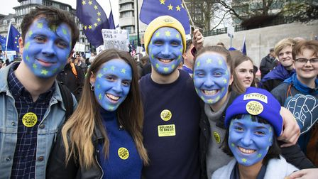 Protesters campaigning against Brexit in London. (photo by Mike Kemp/In Pictures via Getty Images)