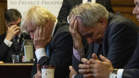 Jacob Rees-Mogg, Boris Johnson and Peter Bone struggle to make sense of Brexit . Photograph: Getty I