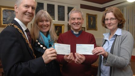 The Rector, Rev David Tomlinson, of St Mary's Church, Saffron Walden, presented cheques for the mayo