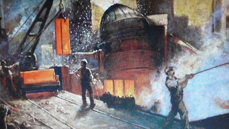 A painting of making Bessemer steel
