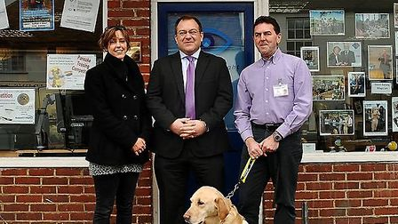 Mr Drew from Educating Essex (centre) with Support 4 Sight's training co-ordinator Hanna Starr and c