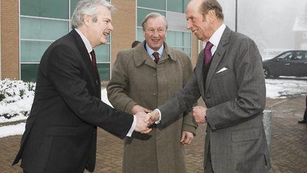 The Duke of Kent (right) was greeted by Dr David Bentley, vice president & chief scientist at Illumi