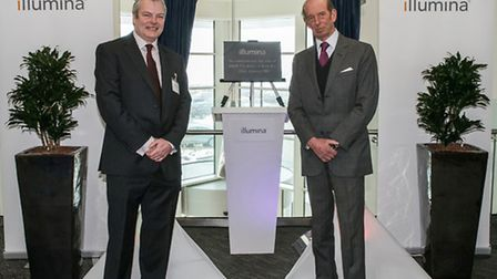 HRH and Dr David Bentley at the plaque unveiling.