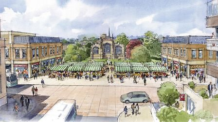 This drawing by Simons shows the market in St Mary's square