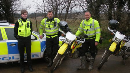 From L-R: PCSO Chris Farrier (safer neighbourhood team), Pc Paul Warner (road policing unit), and P