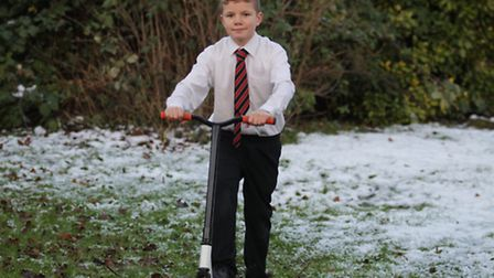 Tom Holford, 12, wants to build a scooter park in Baldock for kids. He is pictured here on his scoot