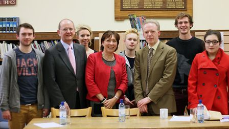 Assistant head of Sixth Form, Gill Kinnear (centre) with speakers (left to right) Andrew Smith and S