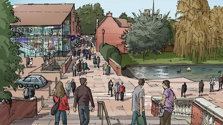 The drawings show a cinema where the market now is, with a walkway to the town centre