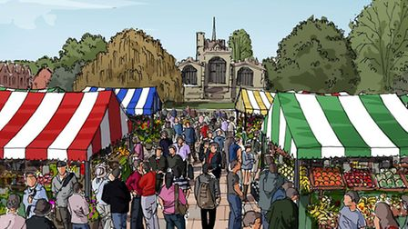 One of the drawings shows the market in St Mary's car park