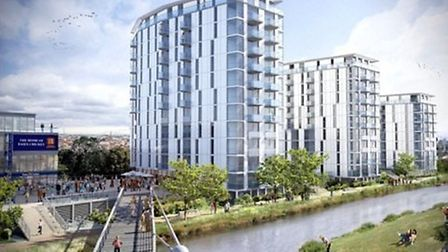 An artist's impression of the apartment blocks which will fund the development