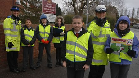 Felsted Primary School children with PCSO Angi Greneski and PC Debi Gray-Farrer