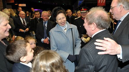 Princess Royal saying goodbye to ECC Leader Cllr Peter Martin and ECC Canvey Island West Cllr Ray Ho