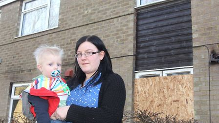 Megan Bradbury pictured with her son Tyler Truett who was rescued from a flat fire in Beverley Road,