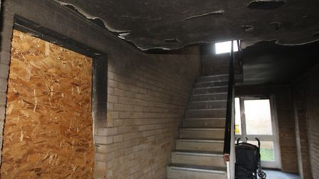 Fire damage outside the ground floor flat where it started
