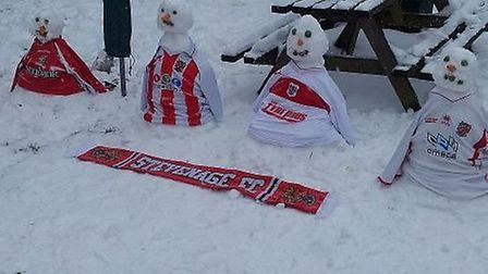There's no doubt which team Holly and George Hitchcock's snowmen support