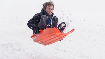 People having fun in the snow Sledging, at Stansted Mountfitchet o nSunday